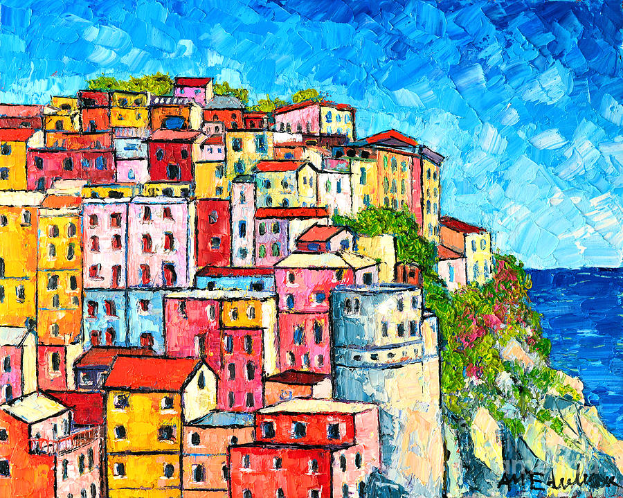 Cinque Terre Italy Manarola Colorful Houses  Painting  - Cinque Terre Italy Manarola Colorful Houses  Fine Art Print