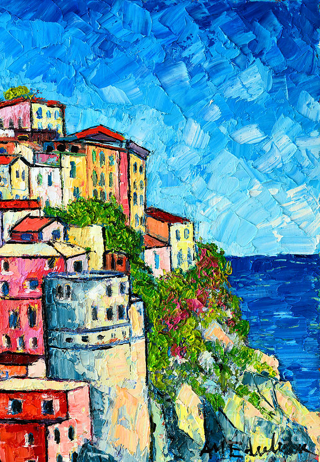 Cinque Terre Italy Manarola Painting Detail 3 Painting