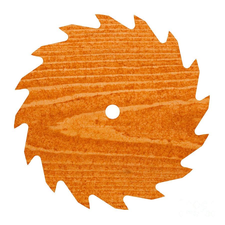 Circular Saw Blade With Pine Wood Texture Photograph