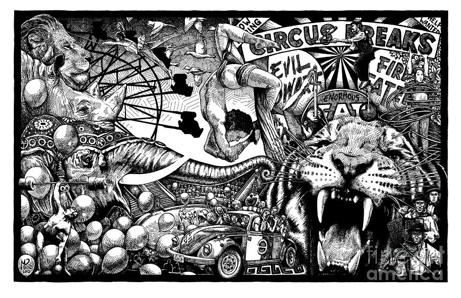Circus Drawing - Circus Breaks by Matthew Ridgway