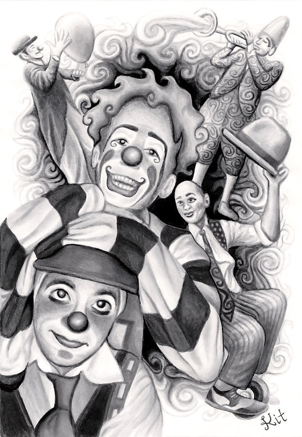 circus clowns drawing by kit clock