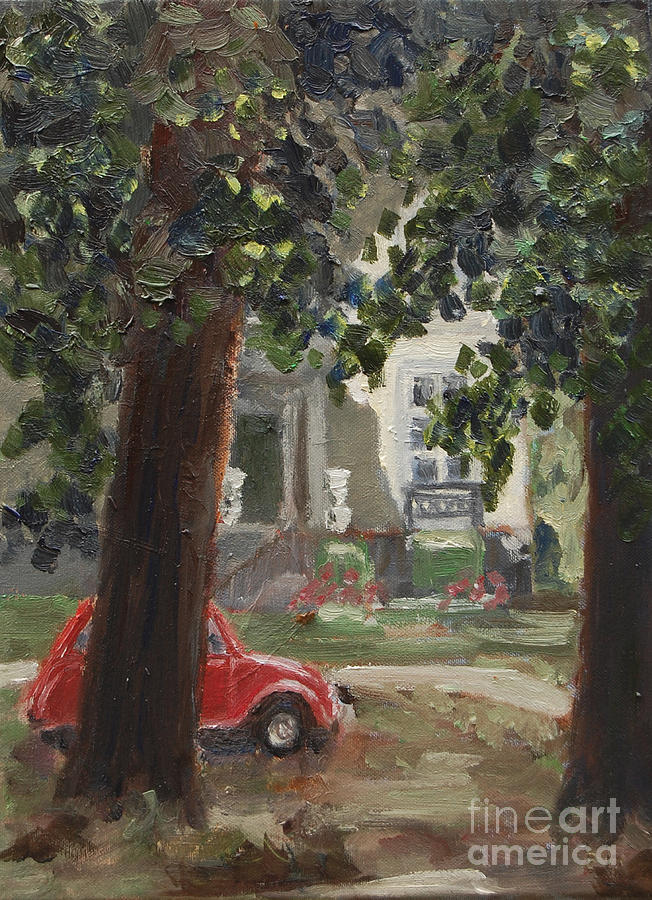 Citroen 2cv And Marialust Apeldoorn Painting  - Citroen 2cv And Marialust Apeldoorn Fine Art Print