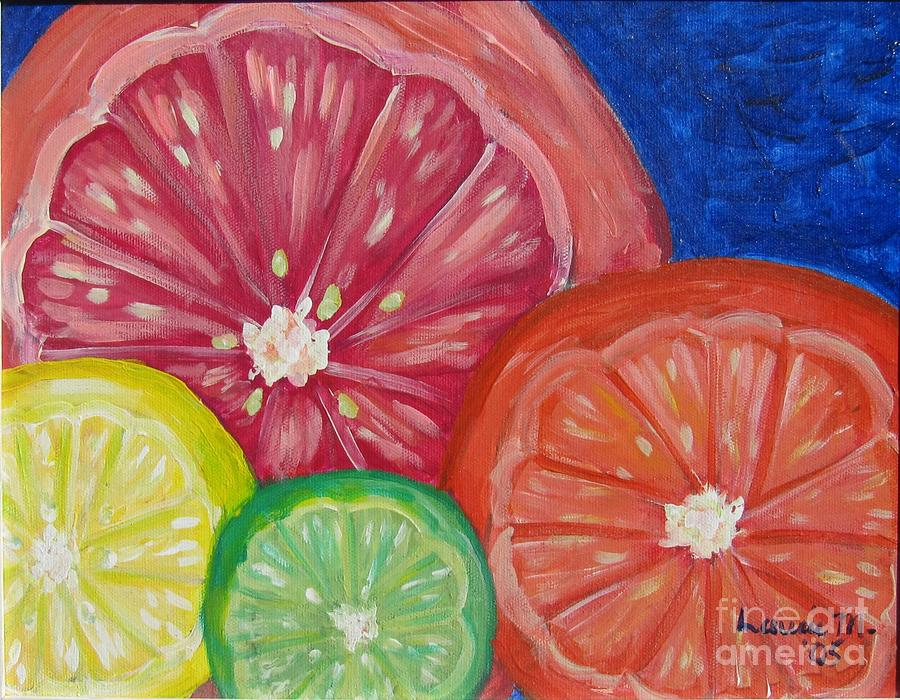 Fruit Painting - Citrus Slices by Laurie Morgan