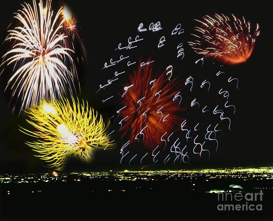 Fireworks Digital Art - City All Liteup by Belinda Threeths