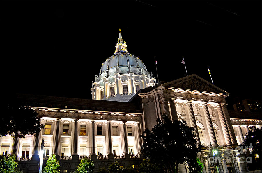 City Hall San Francisco At Night Photograph