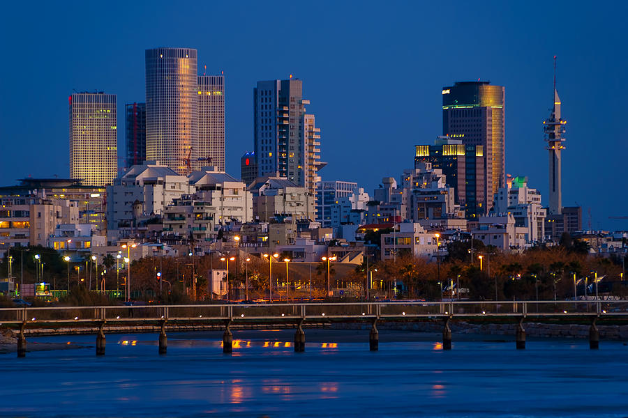 city lights and blue hour at Tel Aviv Photograph  - city lights and blue hour at Tel Aviv Fine Art Print