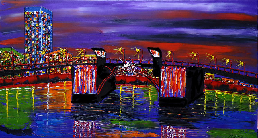 City Lights Over Morrison Bridge 6 Painting  - City Lights Over Morrison Bridge 6 Fine Art Print