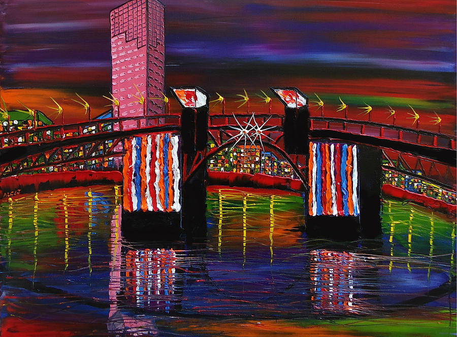 City Lights Over Morrison Bridge 8 Painting