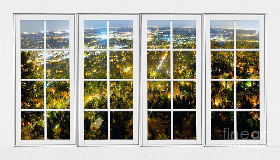 City Lights White Window Frame View Photograph  - City Lights White Window Frame View Fine Art Print