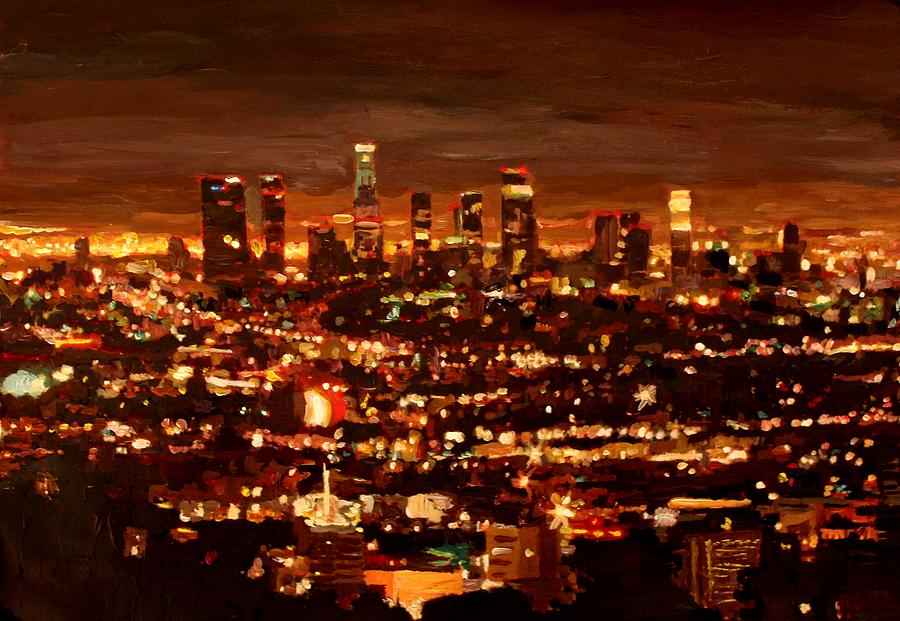 City of angels city of light los angeles painting by m for Painting in los angeles