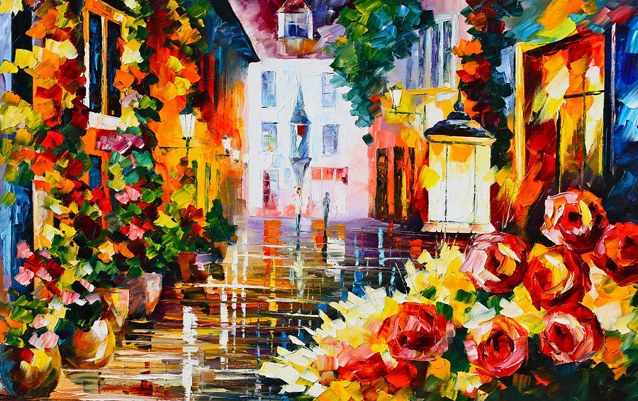 Town Painting - City Of Roses by Leonid Afremov