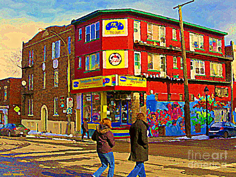 Painting - City Paint Benjamin Moore Rue Rachel And Hotel And De Ville Montreals Oldest Paint Store  C Spandau  by Carole Spandau