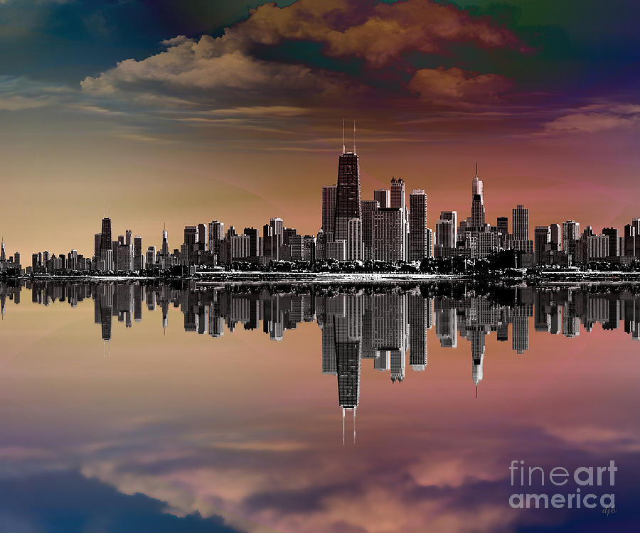 City Skyline Dusk Digital Art  - City Skyline Dusk Fine Art Print