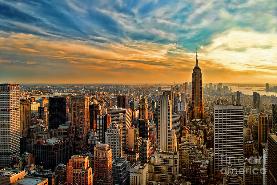City Sunset New York City Usa Photograph