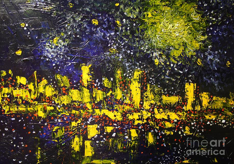 City Under Night Sky Painting