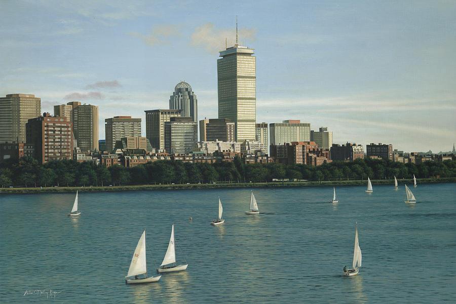 Boston Painting - City View Sail by Julia OMalley-Keyes
