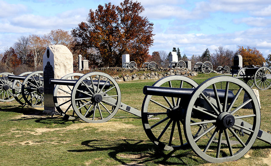 Gettysburg Photograph - Civil War Cannons At Gettysburg National Battlefield by Brendan Reals