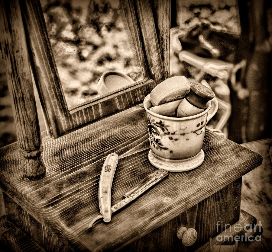 Civil War Shaving Mug And Razor Black And White Photograph  - Civil War Shaving Mug And Razor Black And White Fine Art Print