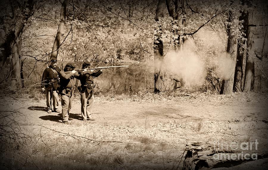 Civil War Soldiers Firing Muskets Photograph  - Civil War Soldiers Firing Muskets Fine Art Print