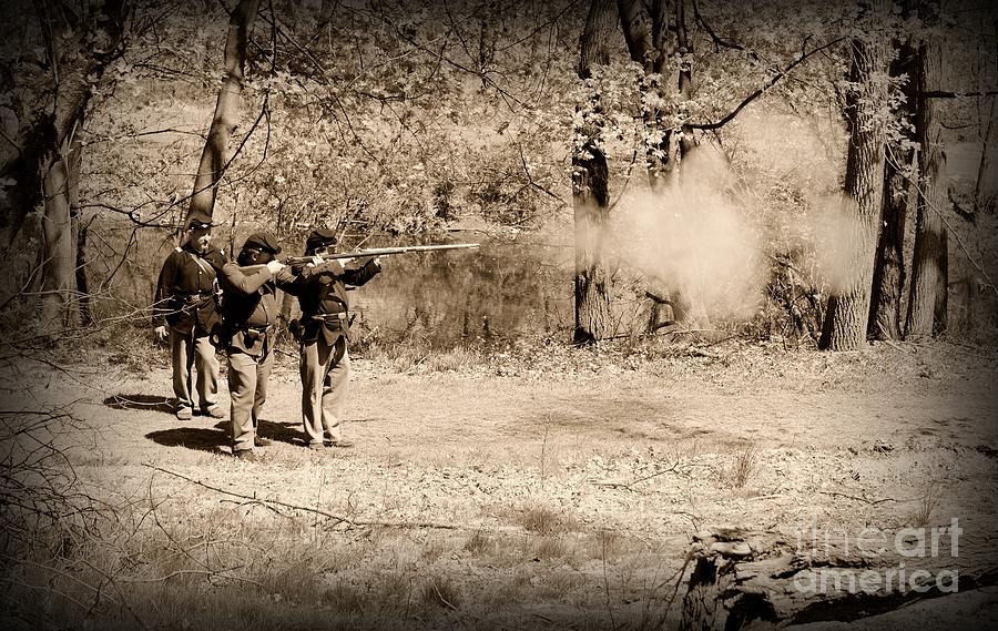 Paul Ward Photograph - Civil War Soldiers Firing Muskets by Paul Ward