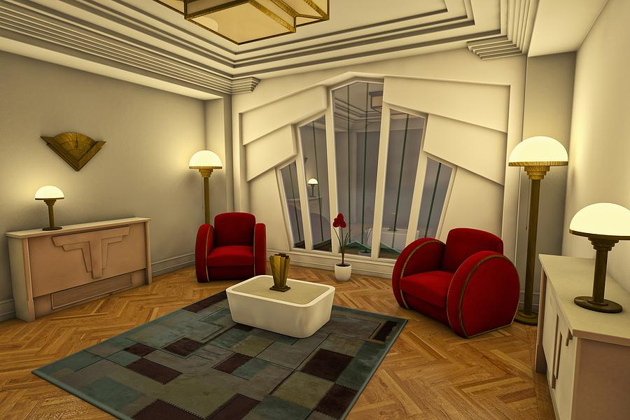 Classic Art Deco Living Room Digital Art
