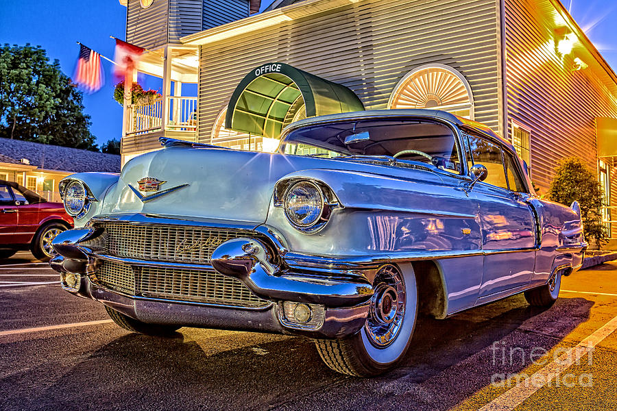 Classic Blue Caddy At Night Photograph