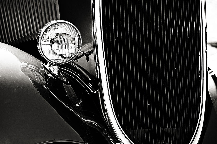 Classic Car Grille Black And White Photograph