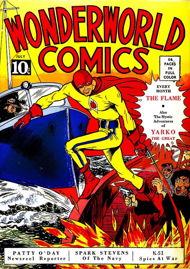 Classic Comic Book Cover Prints : Classic comic book cover wonderworld comics the flame