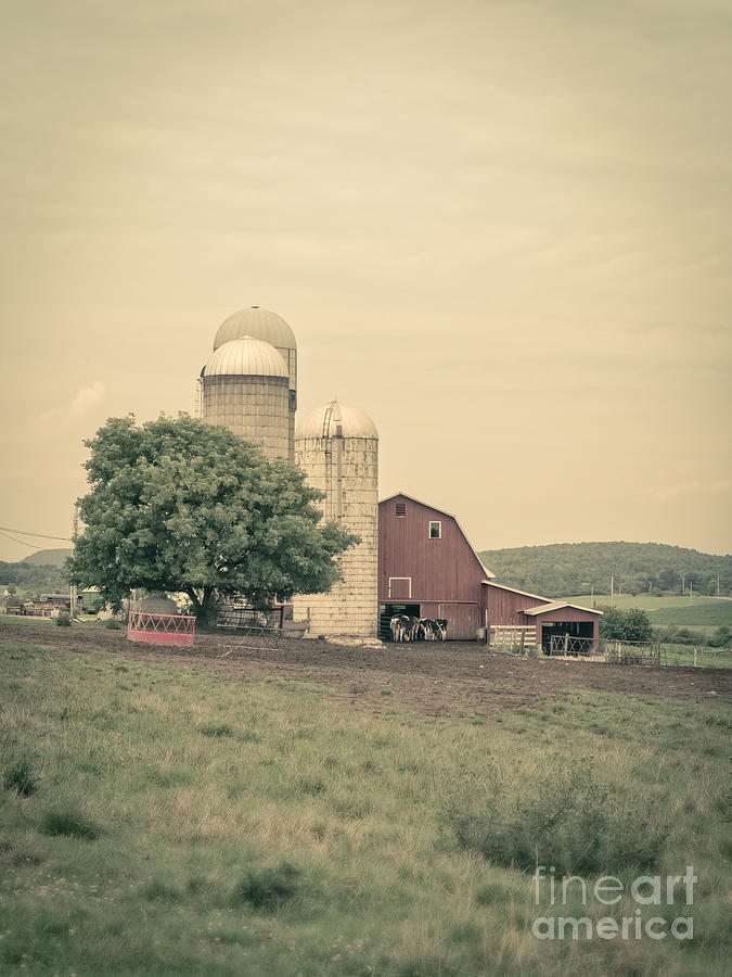 Classic Farm With Red Barn And Silos Photograph