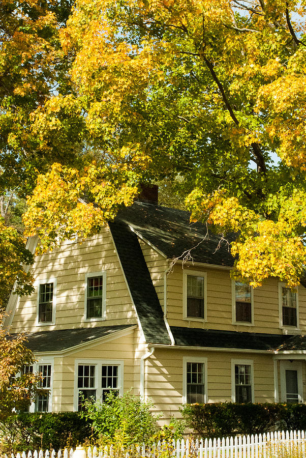 Classic New England House In The Fall Photograph  - Classic New England House In The Fall Fine Art Print