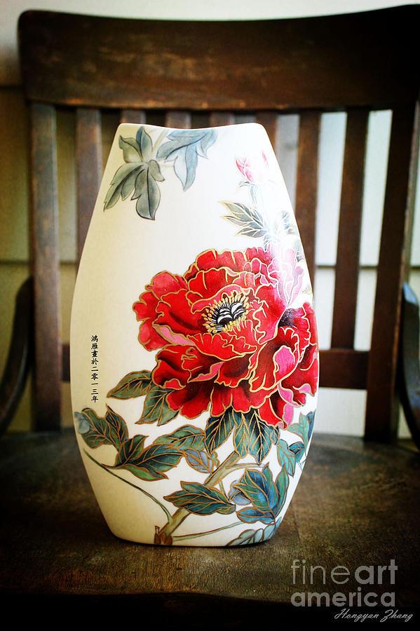 Classic Rich Hibiscus Flowers Ceramic Art