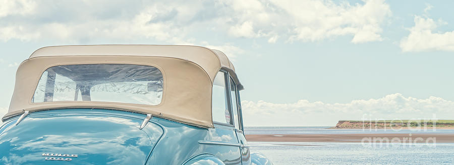 Classic Vintage Morris Minor 1000 Convertible At The Beach Photograph