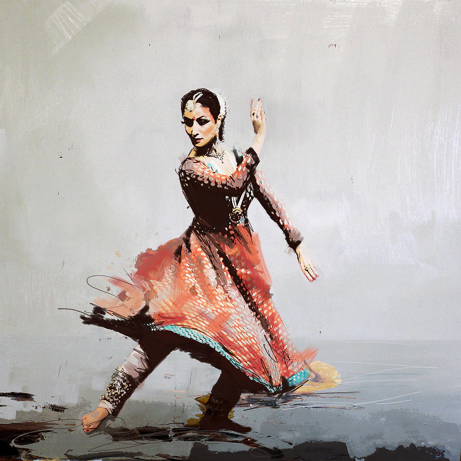 Classical Dance Art 11 Painting By Maryam Mughal