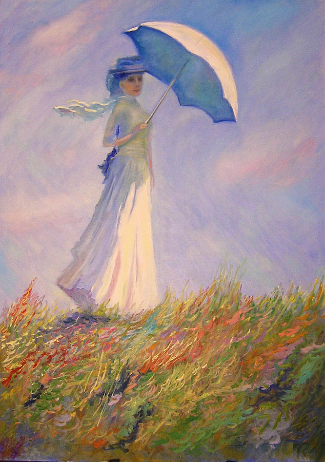 Claude Monet's Woman With Umbrella Painting by Alex Korolov