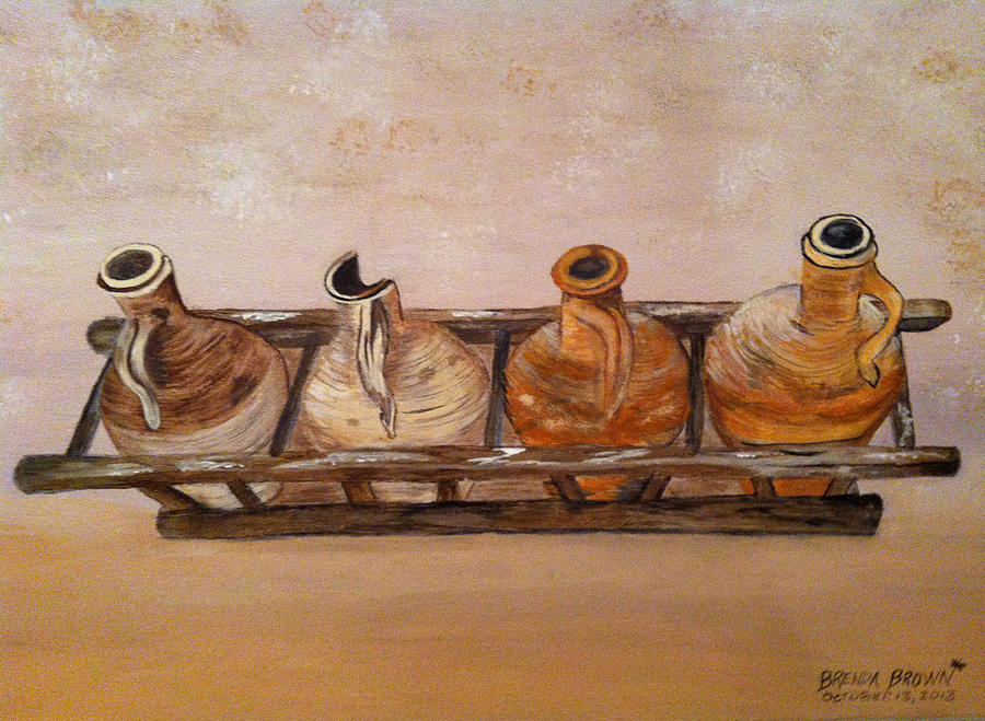 Clay Jugs In A Row Painting