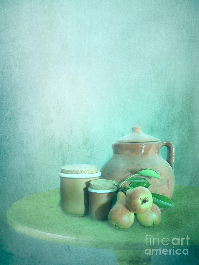 Clay Pot And Pears Photograph