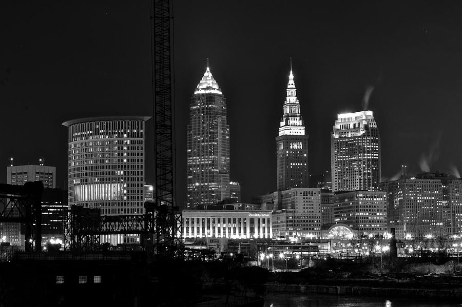 Cleveland Black And White Night II Photograph