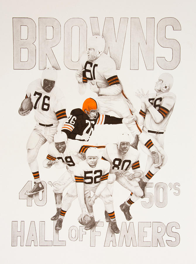 Cleveland Browns 40s To 50s Hall Of Famers Drawing  - Cleveland Browns 40s To 50s Hall Of Famers Fine Art Print