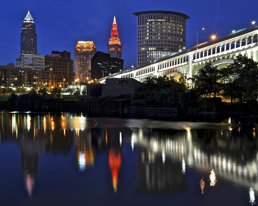 Cleveland Illuminated Photograph  - Cleveland Illuminated Fine Art Print