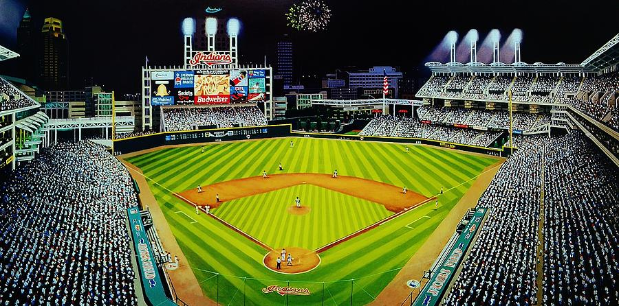 Cleveland Painting - Cleveland Jackobs Nocturn Fireworks by Thomas  Kolendra