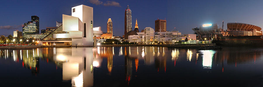 Cleveland Skyline At Dusk Photograph  - Cleveland Skyline At Dusk Fine Art Print