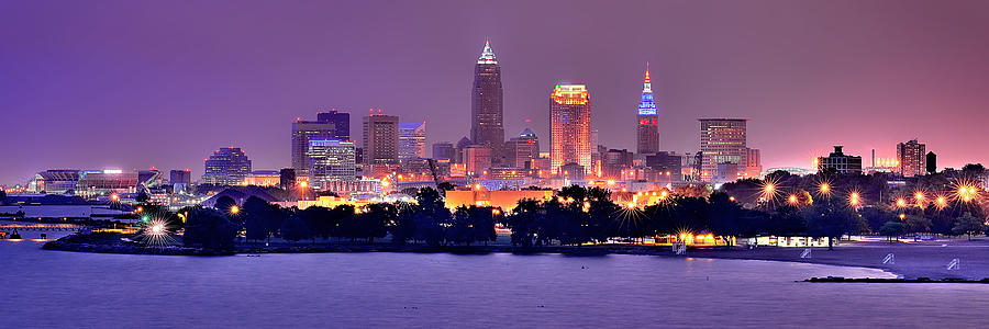 Cleveland Skyline At Night Evening Panorama Photograph  - Cleveland Skyline At Night Evening Panorama Fine Art Print