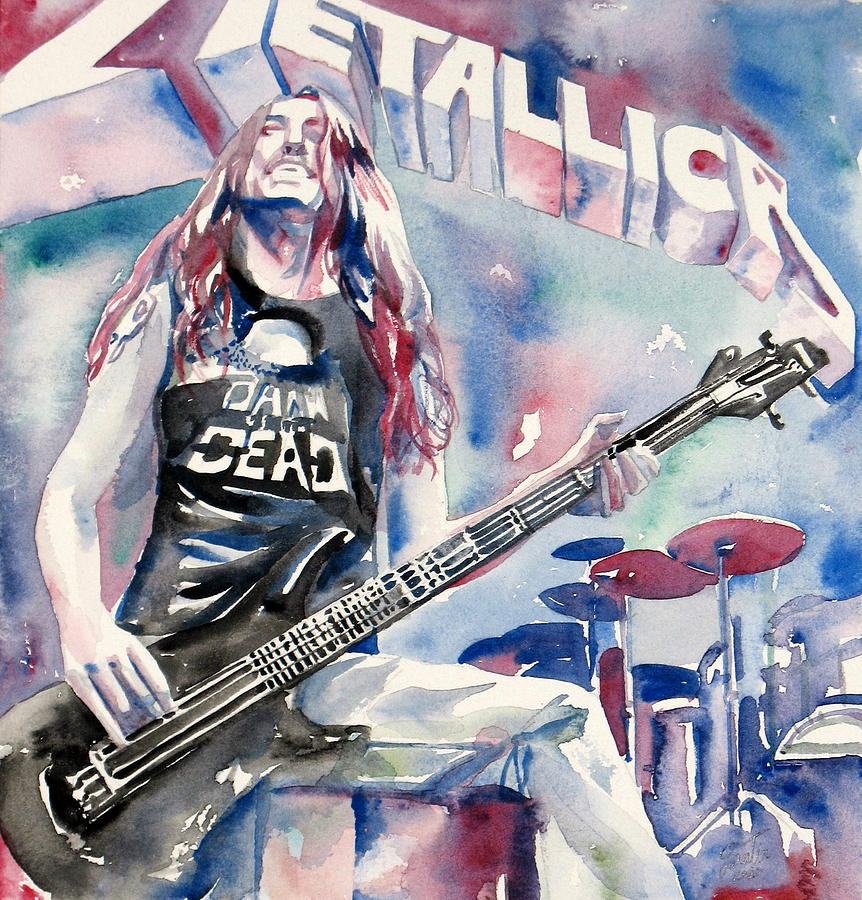 Cliff Painting - Cliff Burton Playing Bass Guitar Portrait.2 by Fabrizio Cassetta