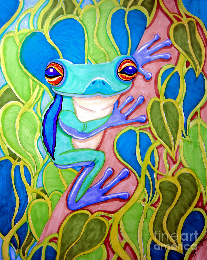 Climbing Tree Frog Drawing by Nick Gustafson