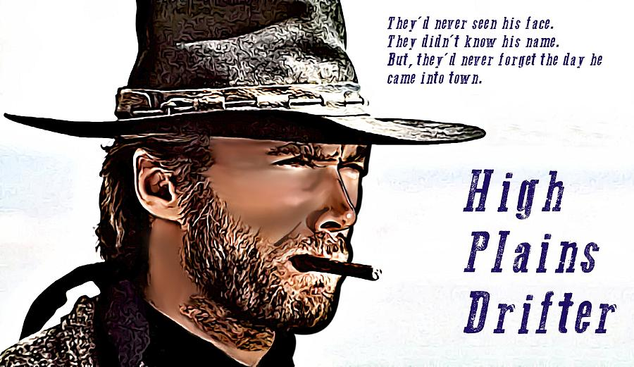 Clint Eastwood High Plains Drifter Drawing  - Clint Eastwood High Plains Drifter Fine Art Print