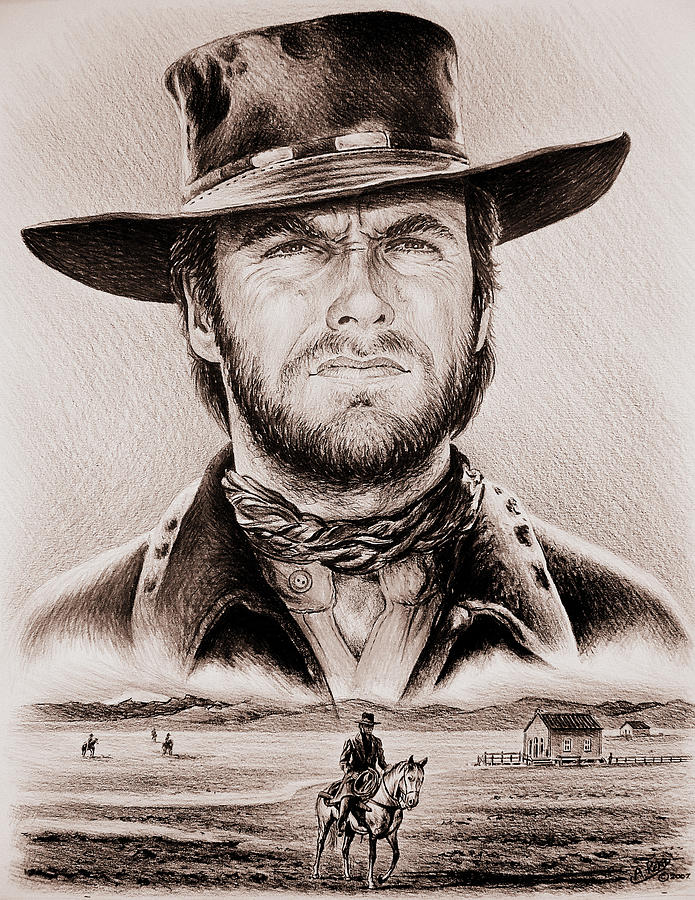 Clint Eastwood The Stranger Ye Old West Edit Drawing