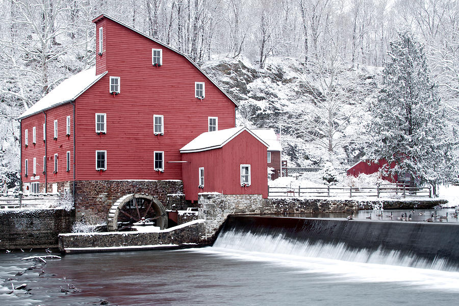 Clinton Red Mill In Snow With Geese Photograph