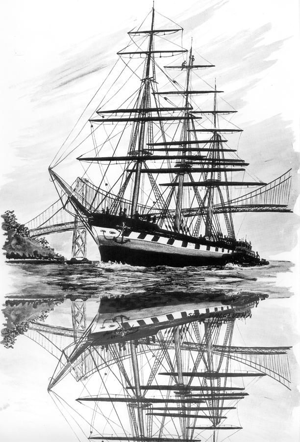 Clipper Ship Balclutha San Francisco By Drawing  - Clipper Ship Balclutha San Francisco By Fine Art Print