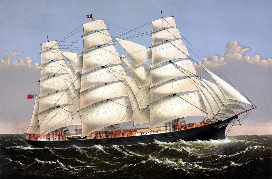 Clipper Ship Three Brothers Painting  - Clipper Ship Three Brothers Fine Art Print