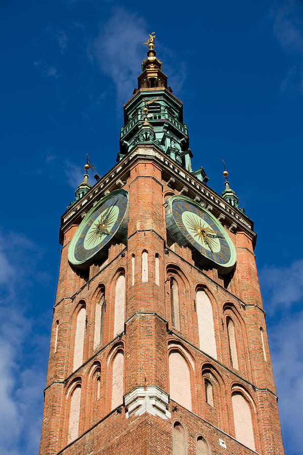 Clock Tower Of Main Town Hall In Gdansk Photograph  - Clock Tower Of Main Town Hall In Gdansk Fine Art Print